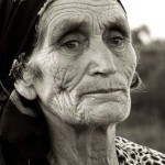Aged elderly woman close up photo
