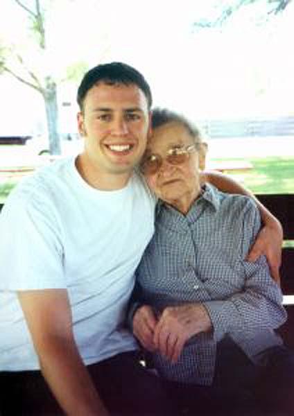 Grandson hugging his grandmother