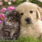 FREE Printable Jigsaw Puzzle: Cat and Dog 1 (Small + Large Pieces)