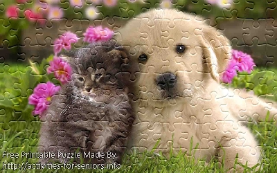 FREE Printable Jigsaw Puzzle: Cat and Dog 1 (Small + Large Pieces). A super cute kitty and a puppy almost hugging each other sitting on the grass.
