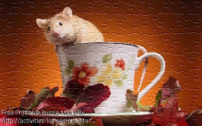 FREE Printable Jigsaw Puzzle: Hamster 2 (Small + Large Pieces). A very hilarious cute hamster sitting on a tea cup on top of a table with autumn leafs.