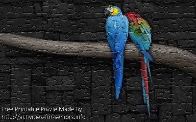 FREE Printable Jigsaw Puzzle: Parrot 1 (Small + Large Pieces). A picture of two very colourful and gorgeous parrots sitting on a branch.
